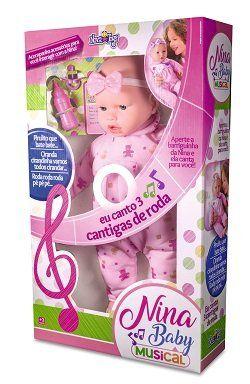 Boneca Nina Baby Branca - Nova Toys