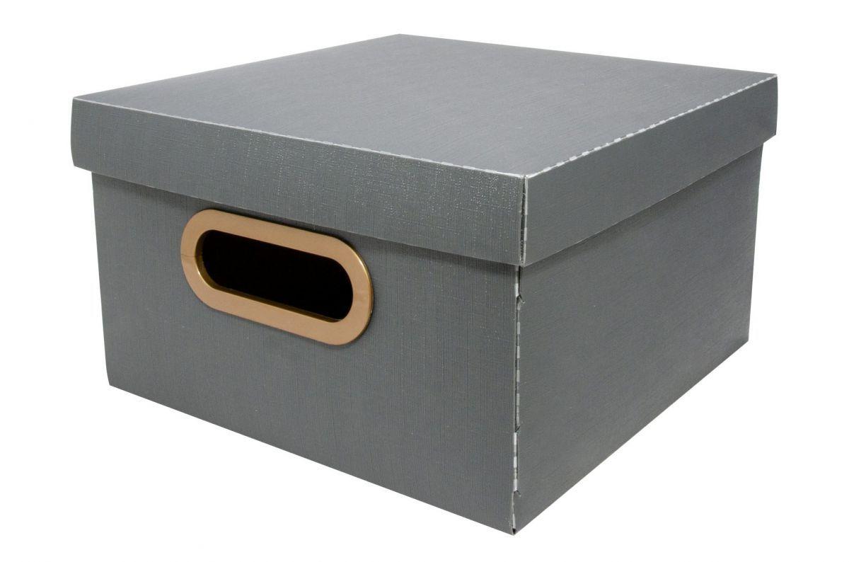 Caixa Organizadora Linho 25x25cm Chumbo - Dello