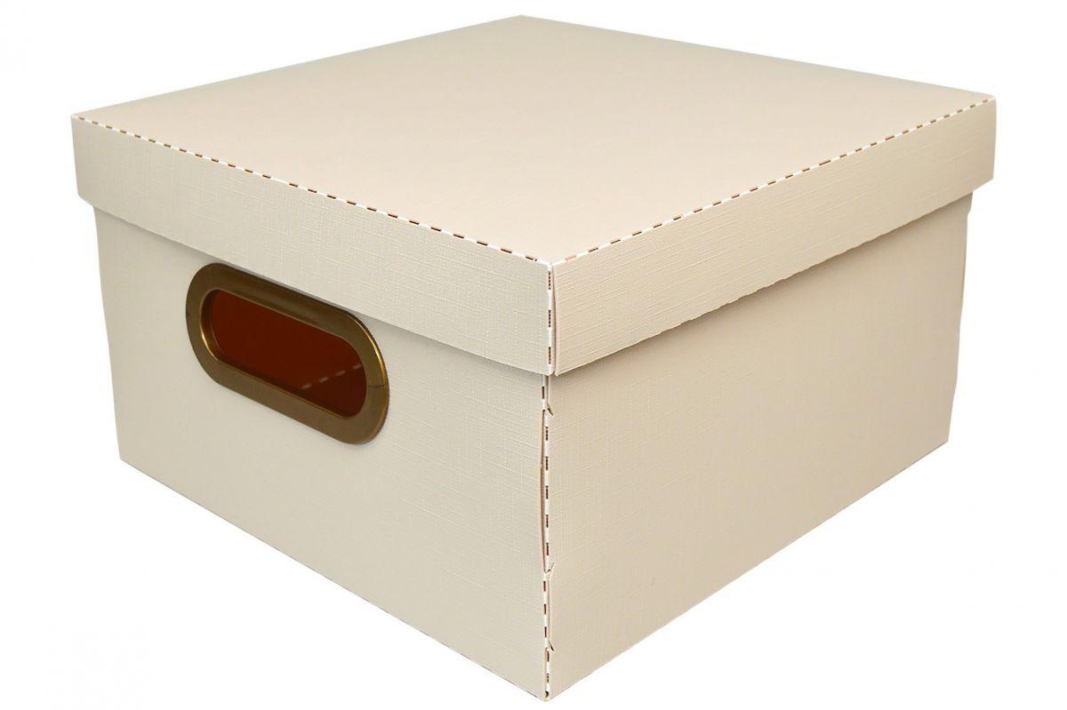 Caixa Organizadora Linho 25x25cm Rosa Claro - Dello