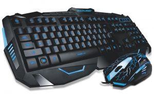 Combo Teclado E Mouse Gamer Com Fio Detalhes Azuis Multilaser