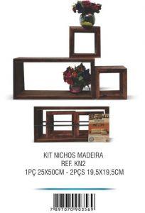 Nichos Kit 2 c/ 3 Peças Madeira - Santa Rosa